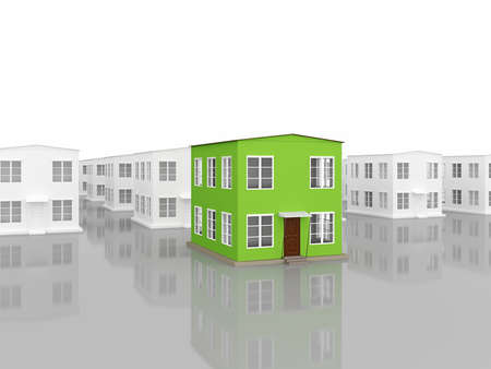 row houses: A row of small houses on a white background