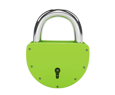 Green lock on a white background