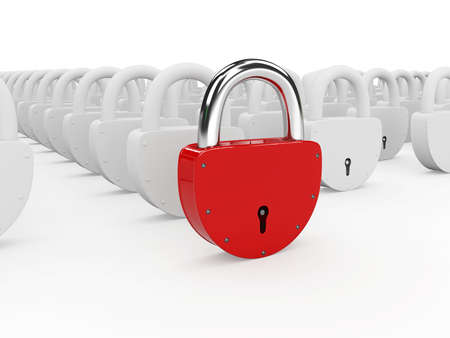 Red and gray padlocks on a white background