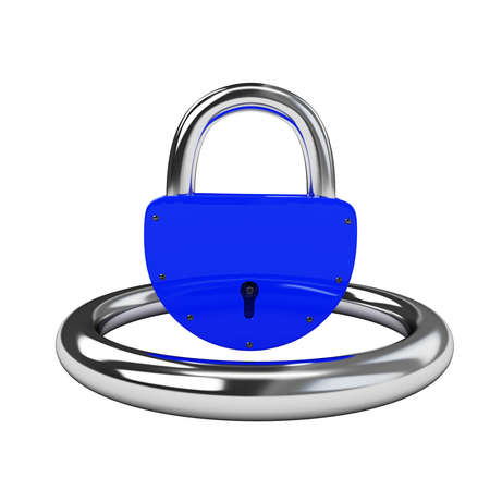 Blue padlock on a white background Stock Photo