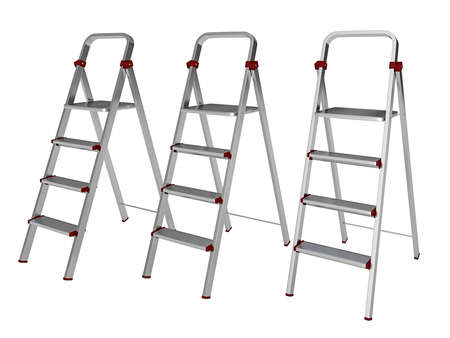 Metal stepladders on a white background photo