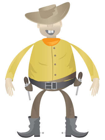 Cowboy with guns on a white background Vector