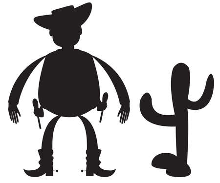 gunfighter: Cowboy silhouette on a white background