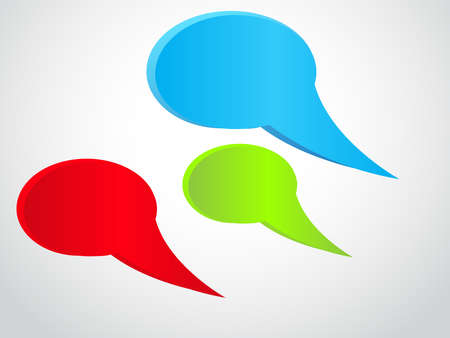 three colored: Three colored empty speech bubbles