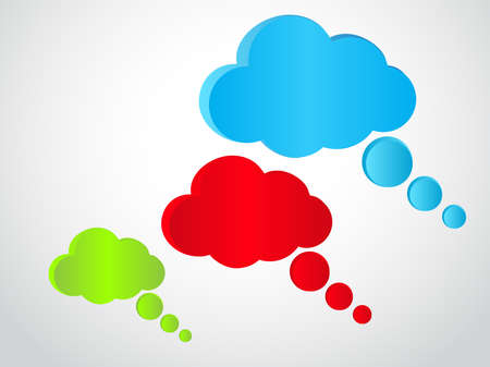 Three colored empty speech bubbles Vector