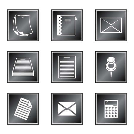 bulletin board: Set of icons on white background