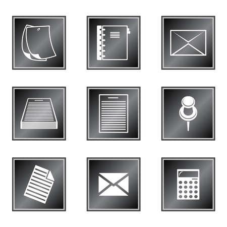 black pictogram: Set of icons on white background