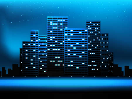 Night city landscape with skyscrapers and stars Illustration