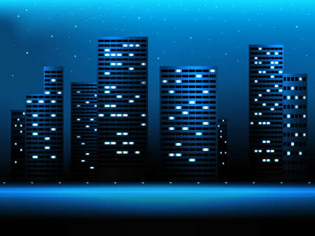 Night city landscape with skyscrapers and stars Vector