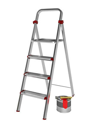 Metal stepladder on a white background photo