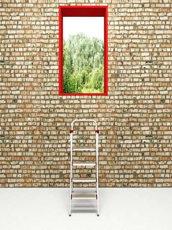 stepladder: Stepladder before an exit in a brick wall Stock Photo