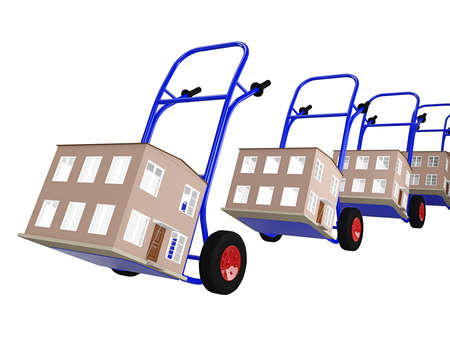 push cart: Hand tracks with houses