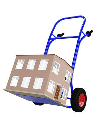 push cart: Hand track with house