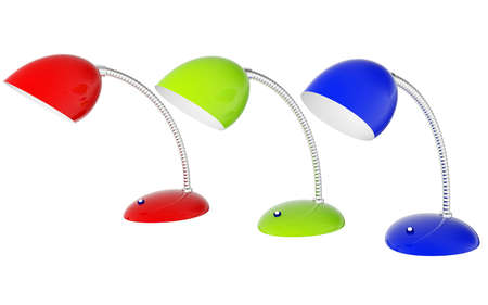 reading lamp: Colored lamps on a white background
