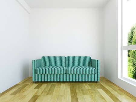 Sofa with cushions near the window photo