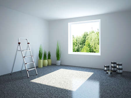 stepladder: Empty room with a stepladder and plants Stock Photo