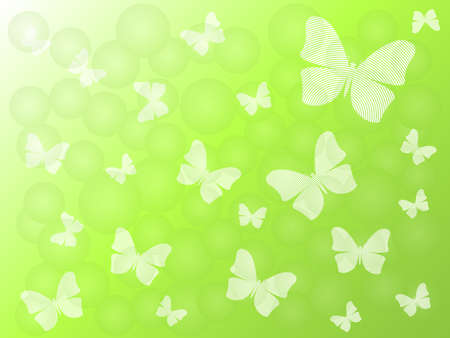 Green background with silhouettes of butterflies Vector