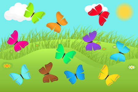 Summer landscape with colorful butterflies Vector