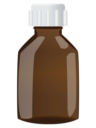 cough syrup: Brown bottle with cap on white background Illustration