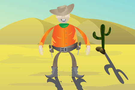 Cowboy with guns on the background of the desert Vector