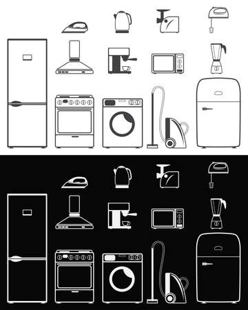 Icons of household appliances on white and black backgrounds