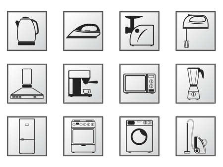 Icons of household appliances on white and black backgrounds Vector