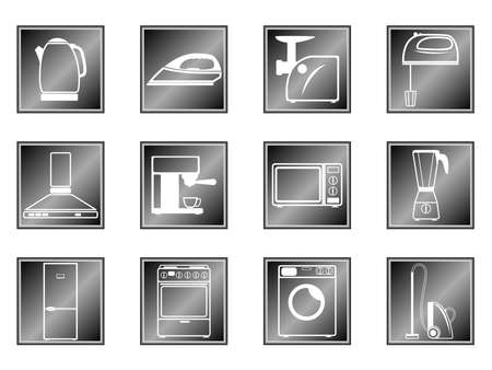 mincer: Icons of household appliances on white and black backgrounds