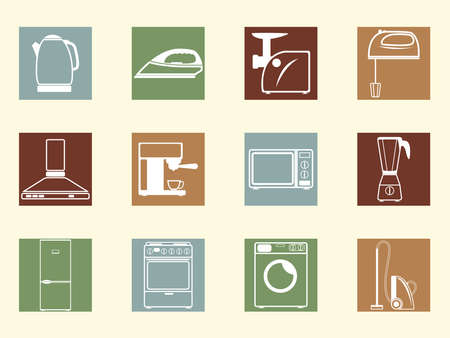 Colored retro icons of household appliances Vector