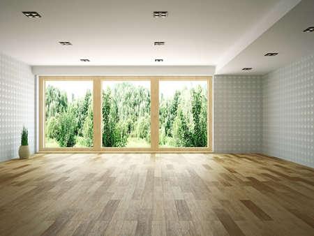 Lege ruimte met venster Stockfoto