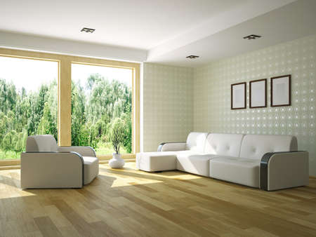 Livingroom with furniture and a window Stockfoto