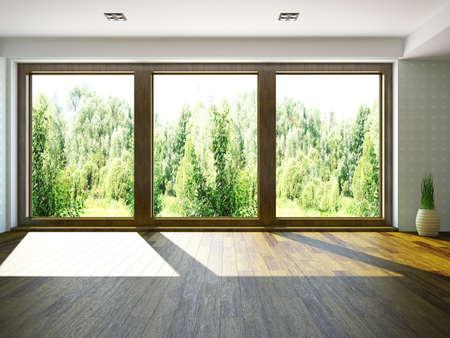big window: Empty room with window