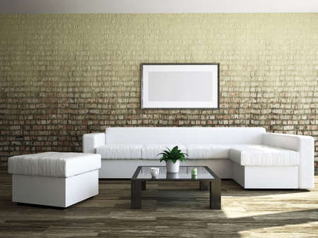 Livingroom with furniture and a painting Stockfoto