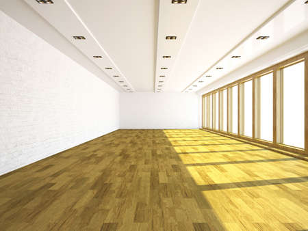 office windows: Large empty room with brick walls