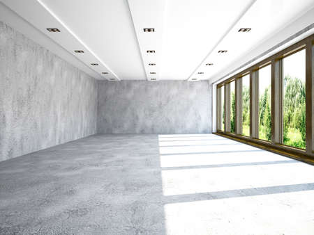 Large hall with concrete walls photo