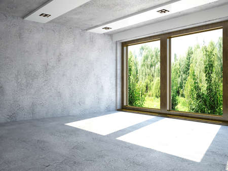 Large room with concrete walls