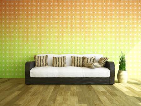 divan: Sofá y plantas cerca de la pared