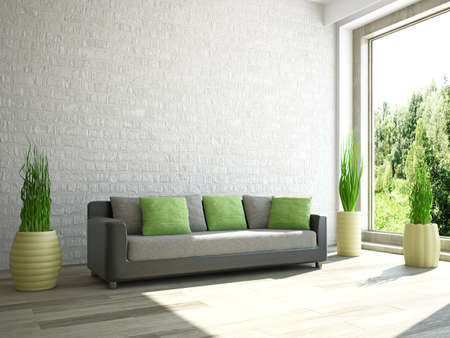 Sofa and plants near the wall