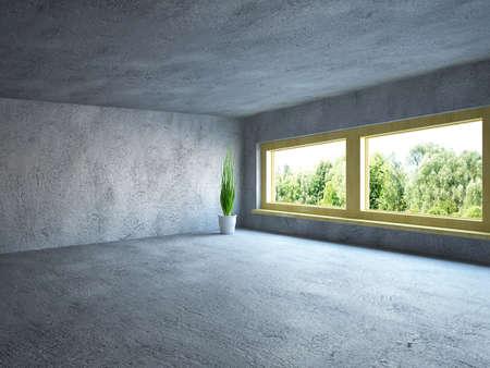 コンクリートの壁が備わる広い客室
