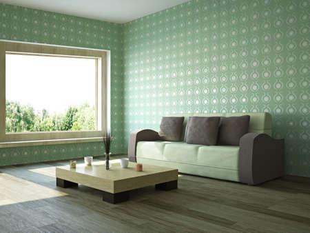 divan: Sofá y mesa cerca de la ventana