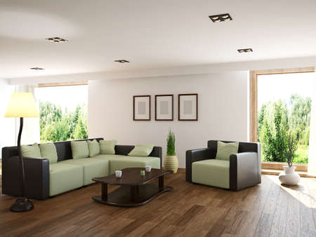 Livingroom with furniture and a window Stok Fotoğraf
