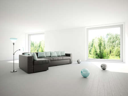 Sofa with cushions in a large room