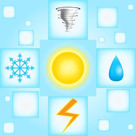 rainstorm: Weather icons on blue background Illustration