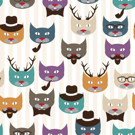 Seamless pattern with colored cats Vector