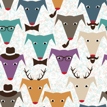 Seamless pattern with colored dogs Vector
