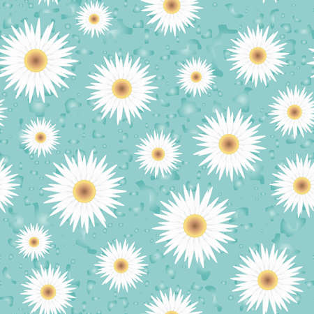 yellow daisy: Seamless vector background with flowers