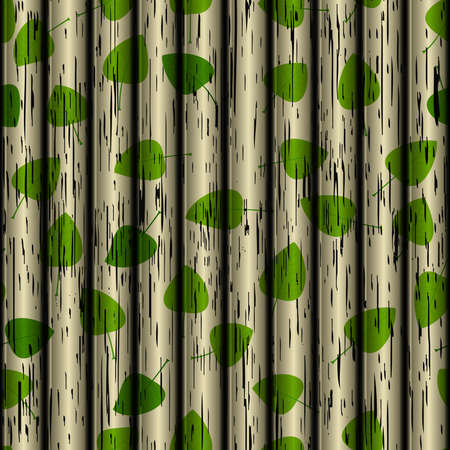 wooden texture: Seamless vector wooden texture with leaf Illustration