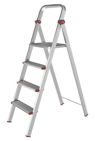 Vector metal stepladder on a white background Illusztráció