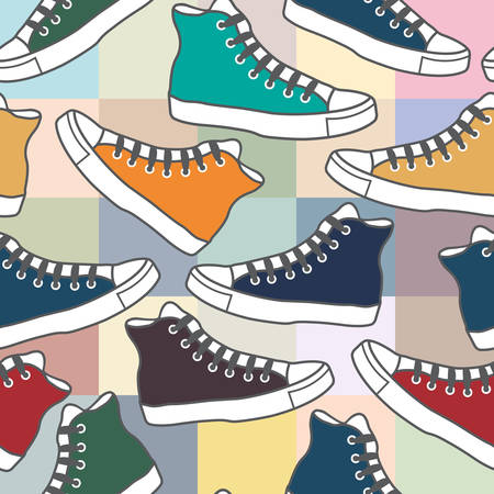 Vector seamless background with colorful sneakers