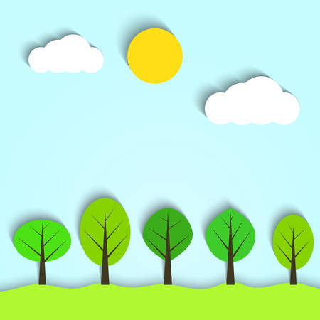 Vector landscape with clouds and trees Vector