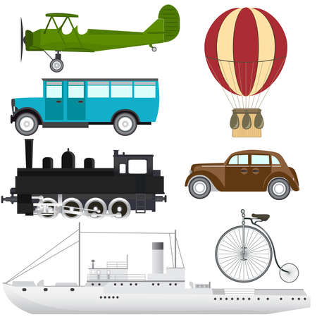 railway transportation: Vector set of retro transport